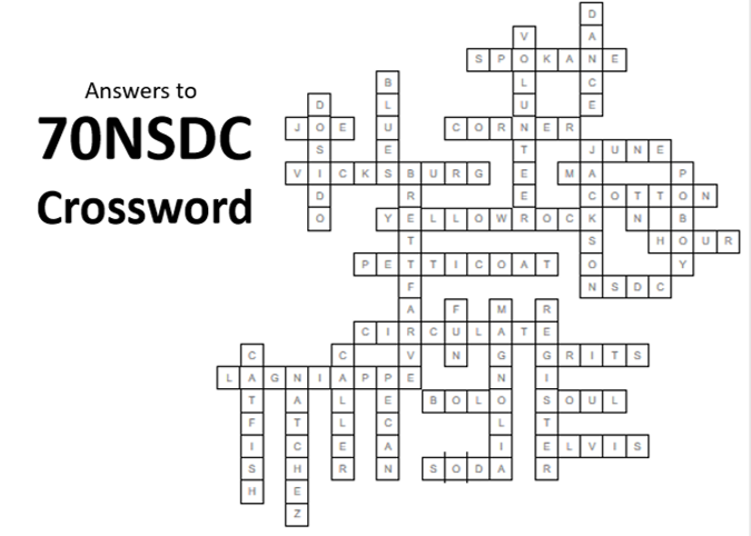 70NSDC Crossword Answers